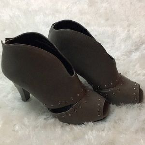 Town Shoes Open Toe Leather Booties